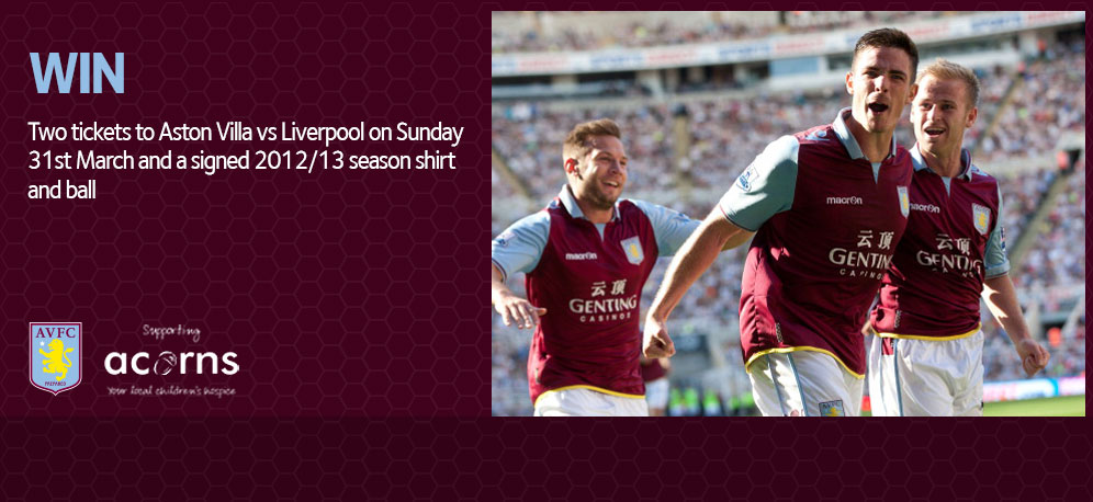 win two premium tickets to Aston VIlla vs Liverpool on Sunday 31st March and a signed 2012/13 season shirt and ball